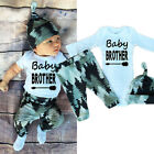 Infant Baby Boy Girl Long Sleeve Tops +Long Pants Hat 3PCS Outfits Set Clothes