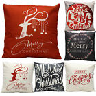 Cotton Linen Christmas Style Sofa Waist Cushion Cover Pillow Case Cover Gift US