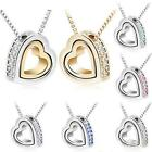 Fashion Ladies Silver Plated Heart Crystal Charm Pendant Chain Necklace 2017
