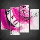ABSTRACT PINK HAIR WOMAN MODERN CASCADE CANVAS WALL ART PRINT READY TO HANG
