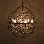 Vintage Retro Ball Crystal LED Chandelier Pendant Lamps Iron Ceiling Fixture 418