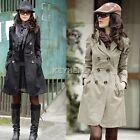 Womens Long Sleeve Slim Fit Trench Double Breasted Coat Jacket Windbreaker Parka