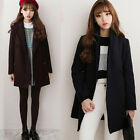 New Fashion Women Wool Blend Lapel Slim Double Long Breasted Casual Coat Jackets