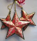 3 Rare Hand Painted Vintage Stars Decorative Ornaments Home Decor India Art*