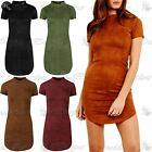 Womens Suede Turtle High Polo Neck Curved Hem Ladies Pencil Bodycon Mini Dress