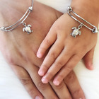 Mother Daughter Turtle Charm Bangle Bracelet Set Mothers Day Mommy and Me Gift
