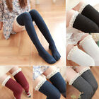 NEW Women School Girls Lace Knit Cotton Over Knee Tights High Socks Stockings