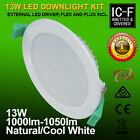 NEW 13W SAMSUNG LED DOWNLIGHT KIT FLAT FACE IMMABLE NEUTRAL COOL WHITE ICF RATED