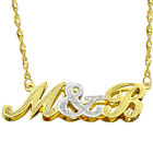 14k Two Tone Gold Personalized Double Plate 3D Initial Necklace - Style 2