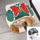 B1-R552 Rhinestone Party Cocktail Band Ring 18KGP Crystal Size 8, 9