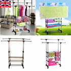UK Adjustable Clothes Hanging Rail Rack Storage Stand On Wheels with Shoe Rack