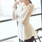 Women Elegant Lace Floral Dress Blouse V Neck Slim Tee Top Long Sleeve Shirts