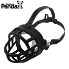 PANDA Dog No Bite Muzzle Comfortable Soft Silicone Rubber Mesh Basket Black /Red