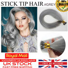 "Best 7A Quality 16""-22"" 100% Grey Stick I Tip Remy Human Hair Extensions 1g UK"