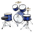 NEW Drum Set 5-PC Complete Junior / Adult Set Cymbals Full Size - Black and Blue
