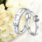 Forever Love Zircon Heart Opening Adjustable Couple Promise Ring Wedding Band US
