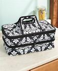 EXPANDABLE HOT/COLD INSULATED 2-SECTION TOTE STYLE FOOD CASSEROLE CARRIER DAMASK