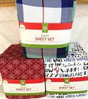 BRUSHED FLANNEL 4 PIECE SHEET SET FULL PLAID, RED SNOWFLAKES OR HOLIDAY MESSAGE