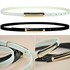 Women's Lady PU Leather Skinny Narrow Thin Buckle Waist Belt Waistband Strap
