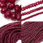 new Genuine Natural Faceted Brazil Red Ruby Gemstone Rondelle Loose Beads 15""