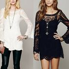 Fashion Women Long Sleeve Casual Sheer Lace Embroidery Floral Mini Beach Dress