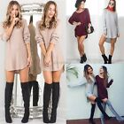 AU Womens Jumper Dress Long Sleeves Top Dipped Hem Mini Casual Ladies Size 6-14