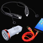 Bluetooth Headset + Car Charger + LED Cable for Samsung Galaxy S7 S6 edge+ J7 A9