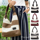 Women Fashion Stripe Large Handbag Canvas Shoulder Bag Tote Ladies Zipper Purse