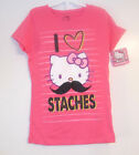 Hello Kitty Girls I Love Staches Pink T-Shirts Sizes S 4-5 and M  6-7  NWT
