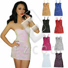 Women Bling Sequeins V-neck Bodycon Party Dress Sleeveless DR162