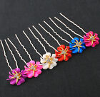 6x Mix Flower Rose Bridal Wedding Hair Pins Clips w/Rhinestone
