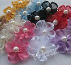 30pcs Upick Ribbon Flowers W/pearl Appliques Craft DIY Wedding Hair Decorat