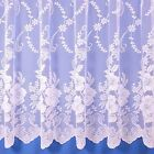 ROMA FLORAL NET CURTAIN IN WHITE - SOLD BY THE METRE - FREE POSTAGE!