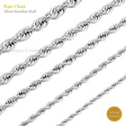 White Gold Stainless Steel Rope Chain Necklace 2mm To 8mm