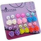 Faux Pearl and Rose Flower Magnetic / Pierced Stud Earrings for Teen Girls Kids