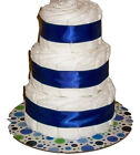 White and Royal Blue Themed Baby Boy Shower Decor 3 Tier Diaper Cake Gift