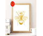 Bumble Bee Insect Gold Foil Print Vintage Foil Rose Gold Art