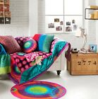 New Desigual Designer Galactic Quilted Throw Rug/Round Cushion Sofa Decor Gift