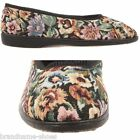 WOMENS GROSBY CAROL BLACK MULTICOLOURED MOCCASINS WARM SHOES SLIP ON SLIPPERS