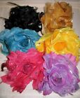 HUGE 3 in 1 PONYTAIL HOLDER + CLAMP + PIN TAFFETA & FEATHERS SELECT COLOR