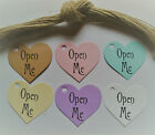 30 Vintage Heart Tags Handstamped With 'Open Me' Suitable For Gifts, Party Bags