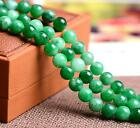 0031 Natural green chalcedony gems round beads strand