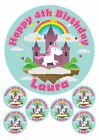 """PERSONALISED PINK UNICORN AND CASTLE - 1 x 7.5"""" & 6 x 2"""" ROUND EDIBLE TOPPERS CA"""