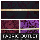 Purple/Wine Flock Pattern Designer Silk Taffeta Draping Wedding Decor Fabric