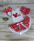 Baby Girls Minnie Mouse Red and White Birthday Outfit with Ears and Diaper cover