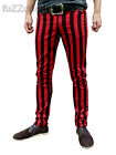 Drainpipes trousers skinny jeans vtg indie mod STRIPED black red hipsters stripe