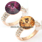 A1-R3071 Fashion Topaz Simulated Gemstone Solitaire Ring 18KGP Crystal