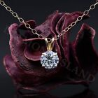 Round Brilliant Cut Real 14k Solid Yellow Gold Solitaire Pendant Chain Necklace