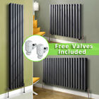 Modern Oval Column Panel Designer Radiator Central Heating Anthracite With Valve