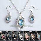 A1-S029 Fashion CZ Simulated Gemstone Earrings Necklace Jewelry Set Crystal